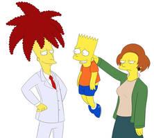Sideshow Bob, Bart, Edna by Matsuri1128
