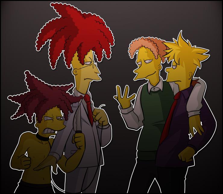 Sideshow Bob, Cecil, Bart, Jino by Matsuri1128