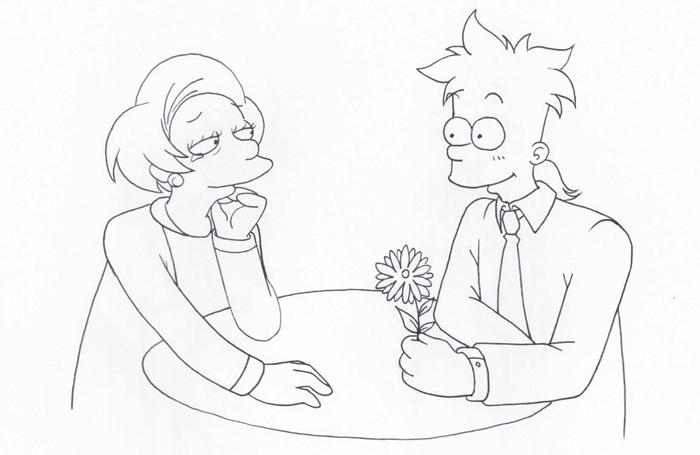 Adult Bart, Edna by Matsuri1128