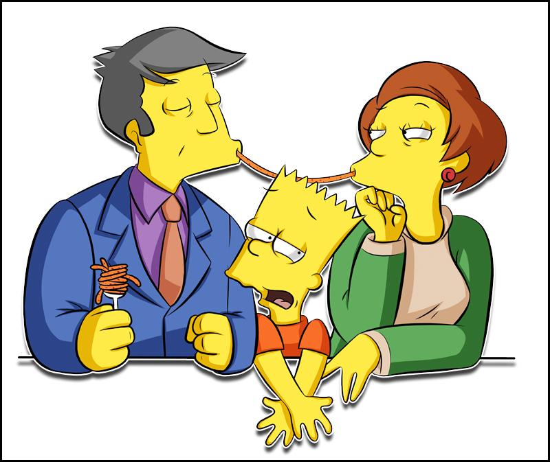 Edna, Skinner, Bart by Matsuri1128