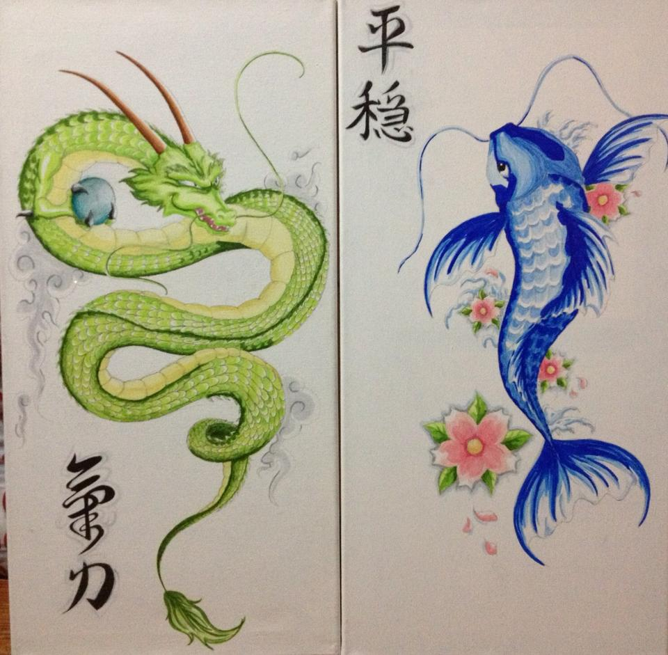 Green dragon and blue koi fish by jessietheartist on for Green koi fish