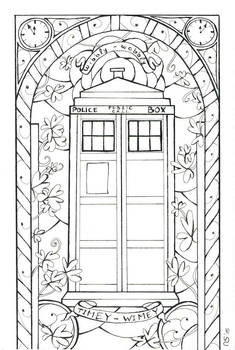 Stained Glass: Tardis (Outlines)