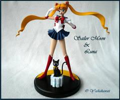 Sailor Moon and Luna Model Kit by yashakawaii