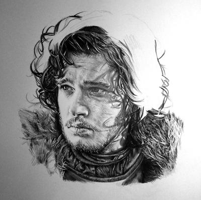 Jon Snow WIP III (black and white) by aaronbakerart