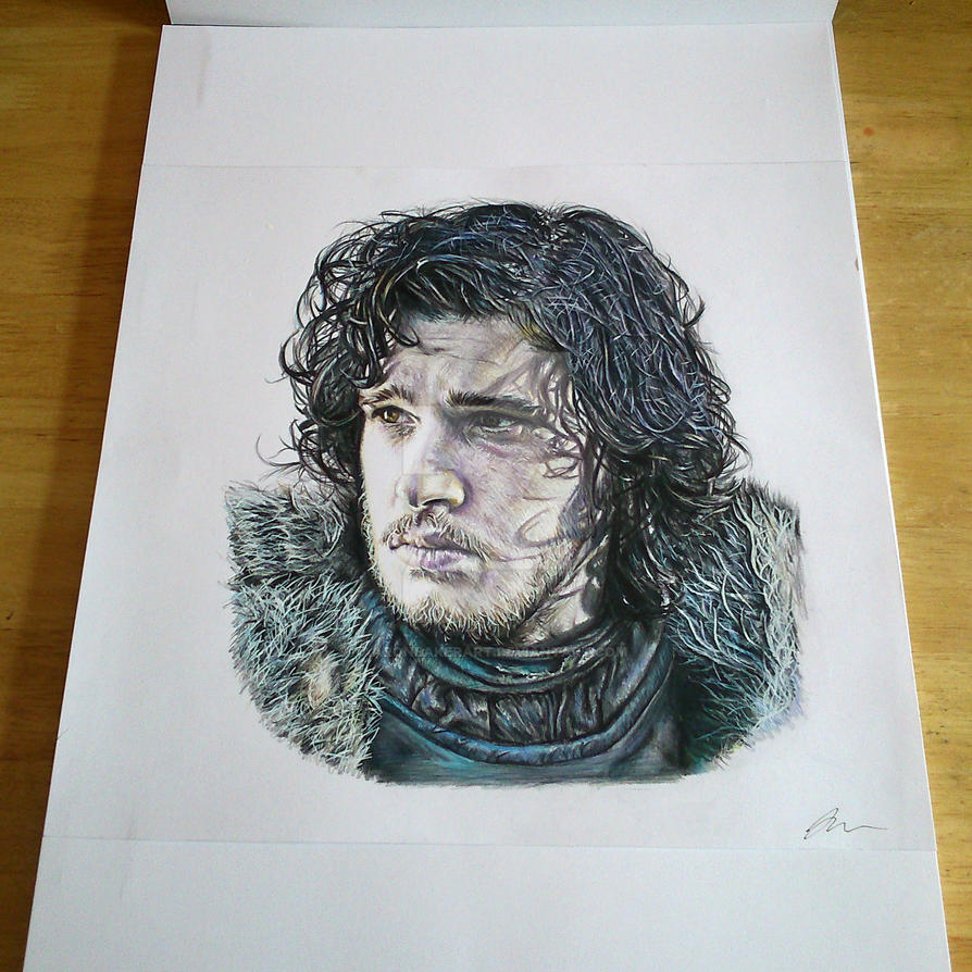 Jon Snow Fin. Prismacolor on Bristol Board by aaronbakerart
