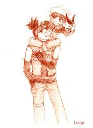 NARUTO Iruka and Naruto by Lionei
