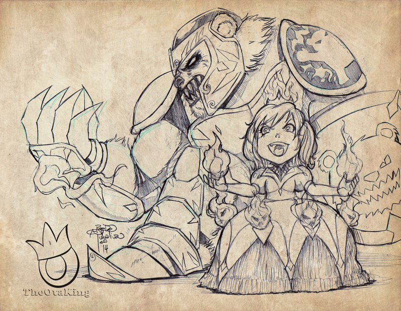 Princess Annie with Tibbers the Knight pencils by sykoeent
