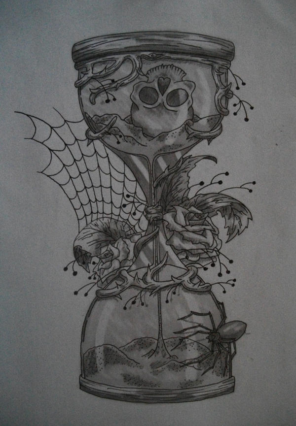 The gallery for hourglass skulls drawing for Skull hourglass tattoo