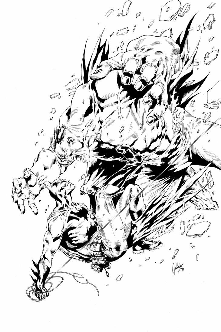 Batman vs Hulk by julianlopezart