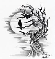 Owl Silhouette with Tree by LittleDarkChild