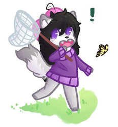 Butterfly Hunting with Aggie by NamelessFeline