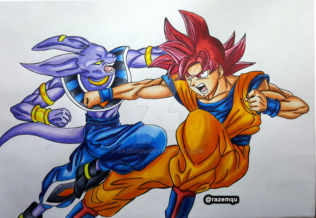 Beerus vs super saiyan god goku dragonball super by - Goku vs vegeta super saiyan 5 ...