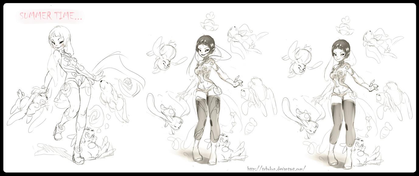 summer doodles by tchokun