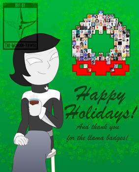 Generous Llama Badgers Holiday Card