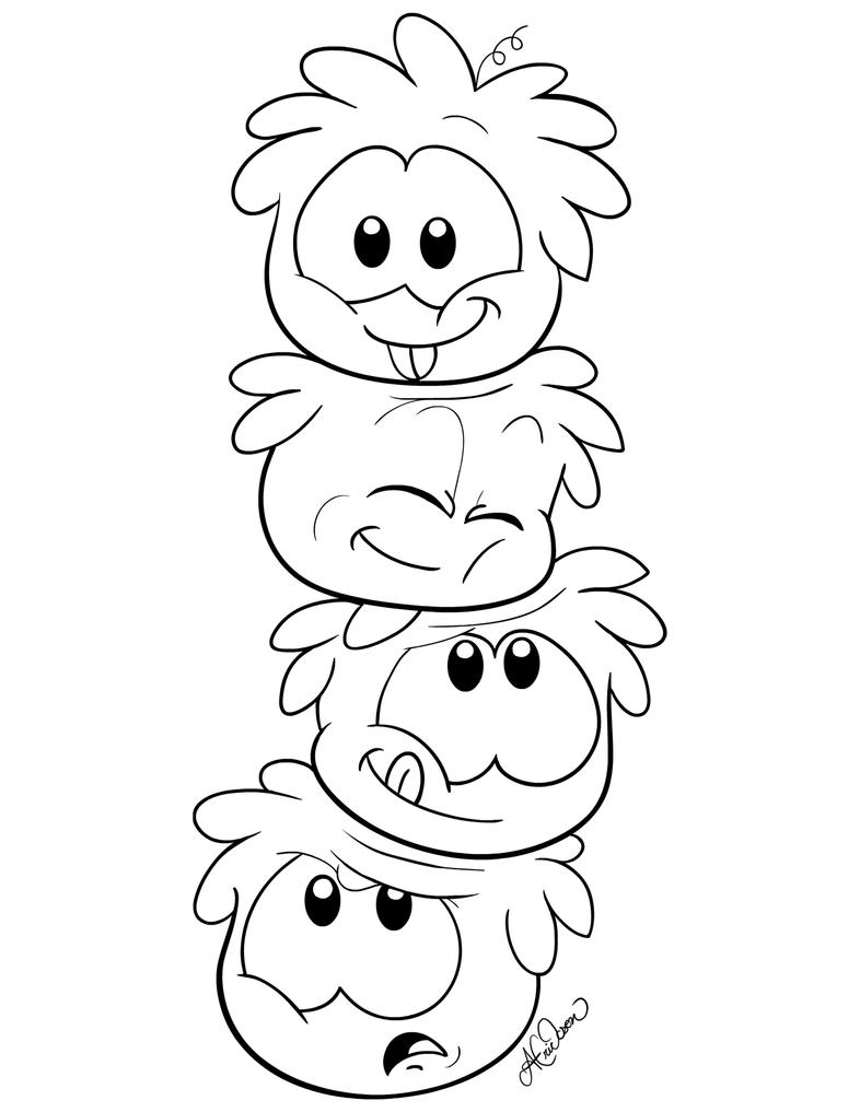 Sh shopkins coloring pages print - Stacked Puffle Colouring Page By Hidden Rainbows