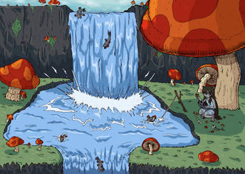 Fishing at the mushroom falls [ OC ] by Katlike-Rider