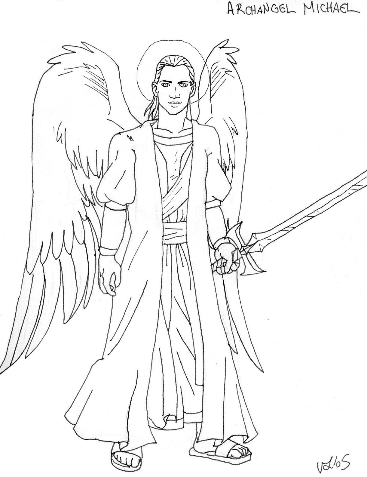 Archangel Michael Line Art by Djehuti