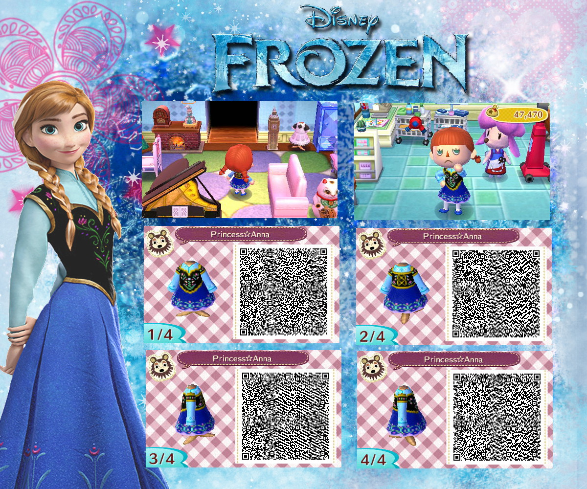 とびだせどうぶつの森 QRコード「アナと雪の女王」アナとエルサの服【ディズニー】\u2026