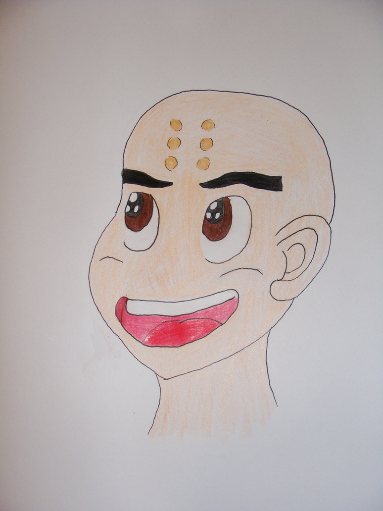 Krillin with brown eyes. by Mewmew34