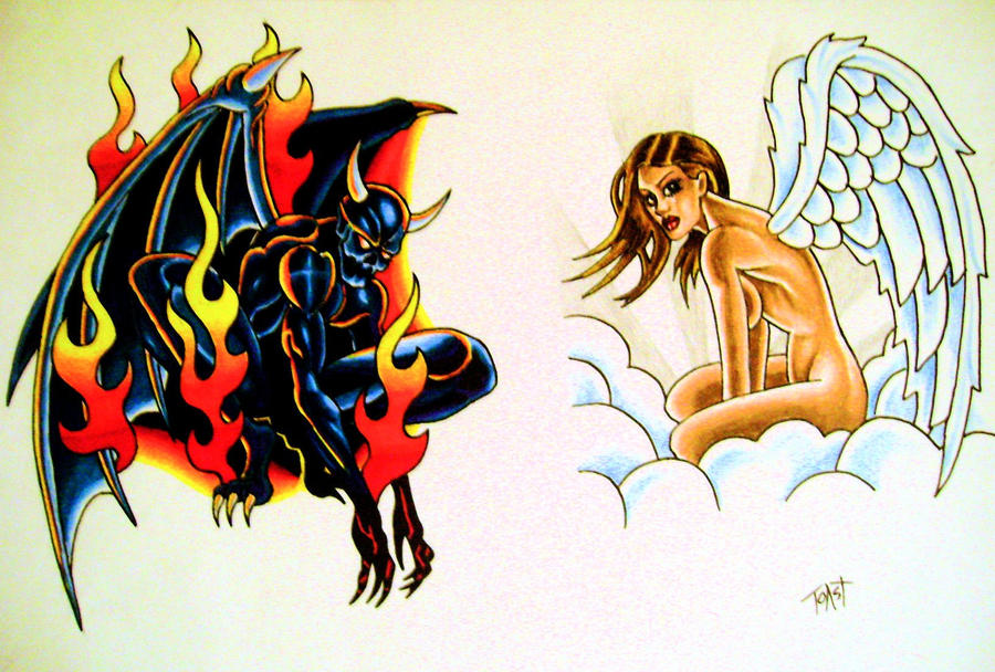 Angel and Devil Tattoos Drawings