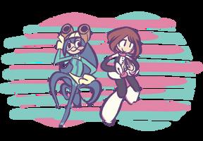 Tsuyu and Ochaco by scorpipio