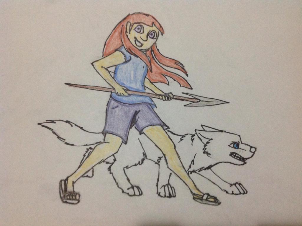 Hunter and Wolf by RainbowGuppy1