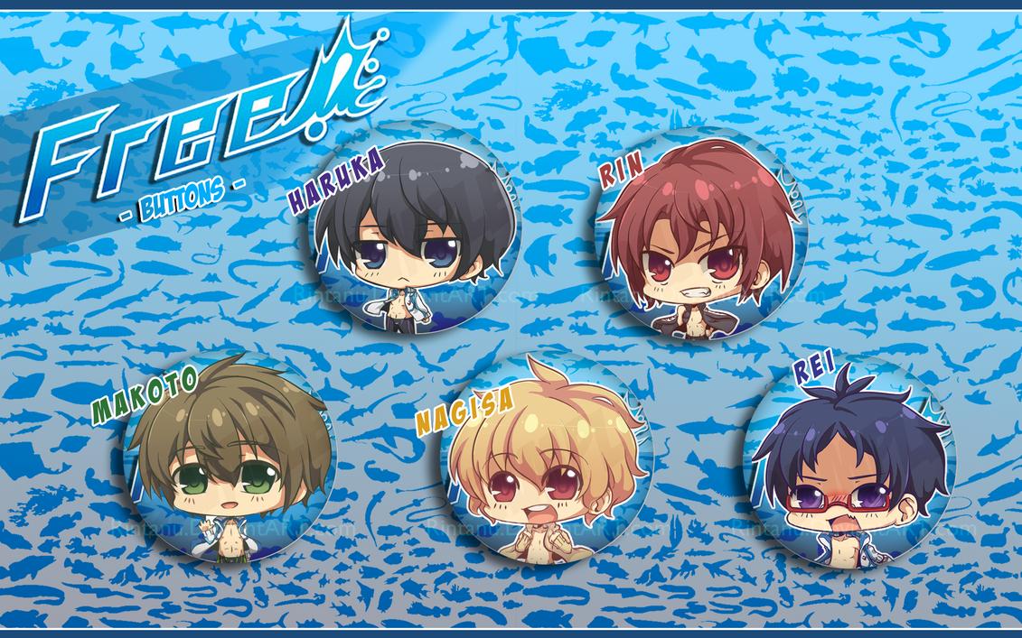 Free! Chibi Buttons by Rintanu