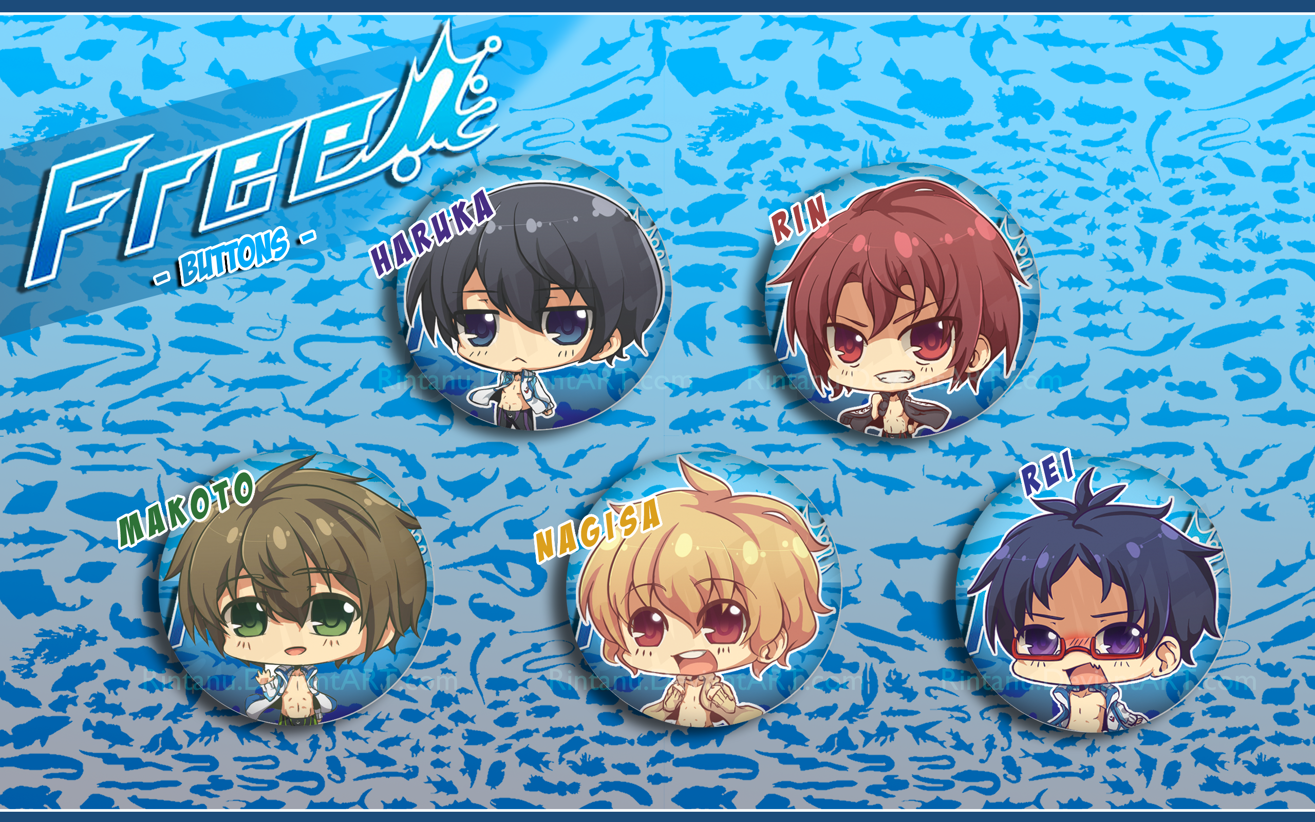 Free! Chibi Buttons by Rintanuu