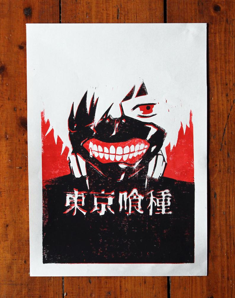 Tokyo Ghoul Kaneki Lino Print by RavensWritingDesk