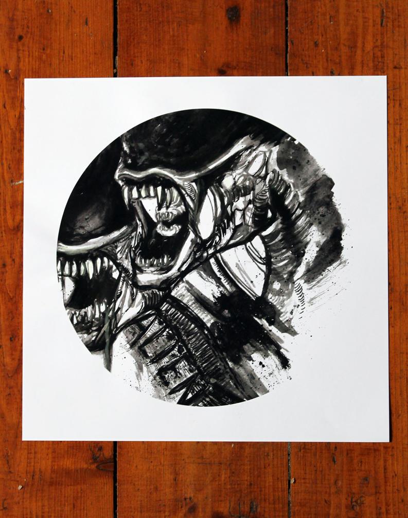 Glow in the dark Xenomorph print by RavensWritingDesk