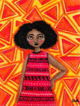 Afro girl with Doritos background