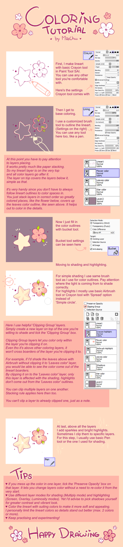 [T] Coloring Tutorial in Paint Tool SAI by MiiaChuu