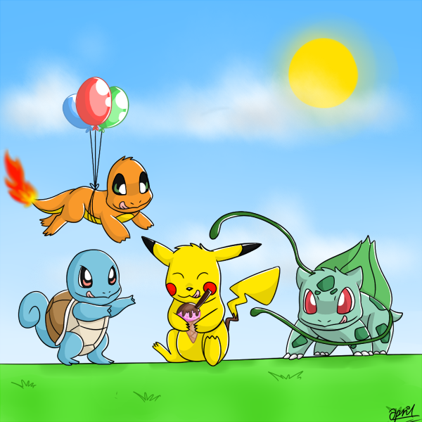 Bulbasaur, Charmander, Squirtle and Pikachu by Huskiemad1 ...