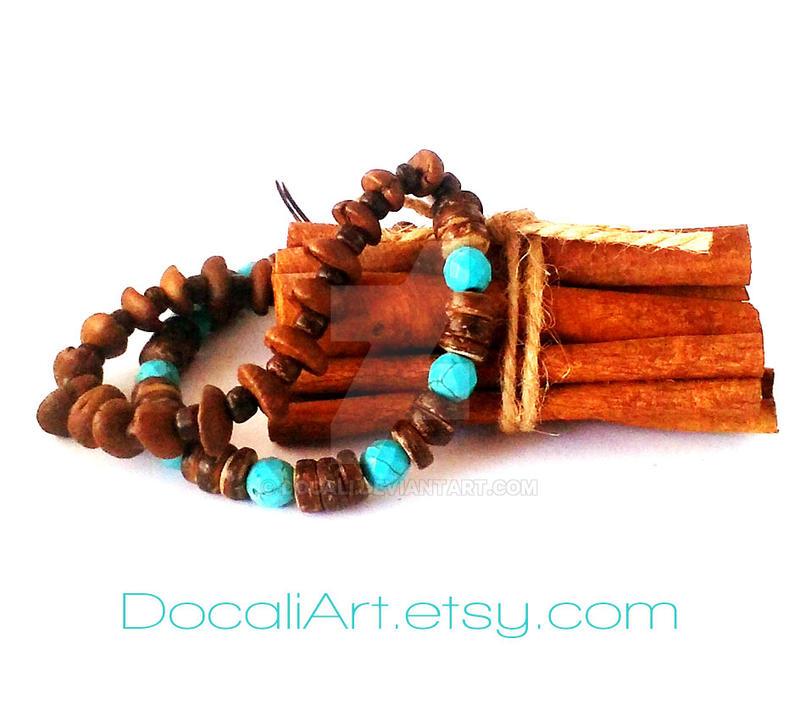 Coffee beans bracelet Turquoise bracelet by Docali