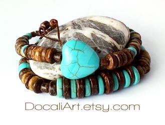 Turquoise heart bracelet Coconut shell bracelet