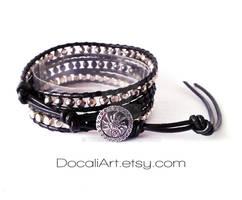 Black silver crystal wrap bracelet metal bracelet