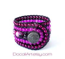 Purple cuff bracelet Agate cuff bracelet