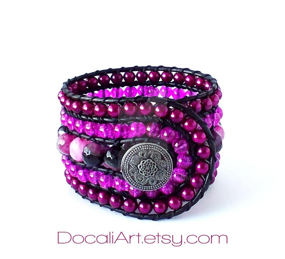 Purple cuff bracelet Agate cuff bracelet by Docali