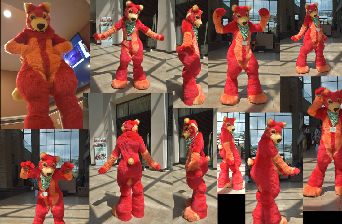 Red Bodysuit and Feetpaws For Sale NOW by GoldenManeMascoting