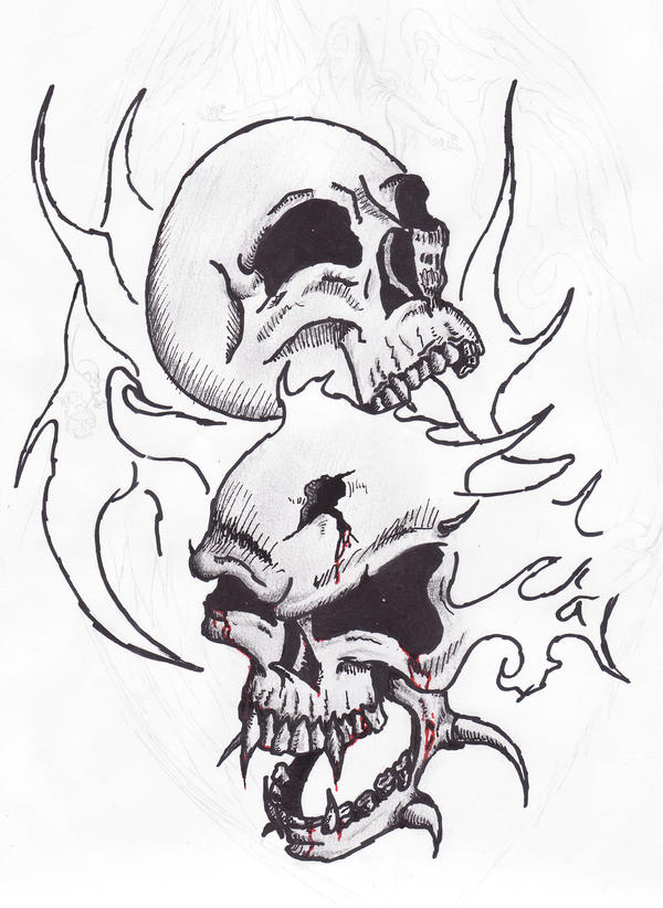 coloring pages skulls flames - fire skulls sketch tatoo by satroa on deviantart