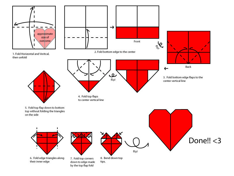 Make an origami heart - Kidspot | 600x800
