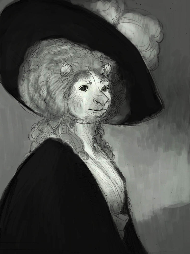 Portrait of Mrs Tree Kangaroo-WIP by SoftBluewind