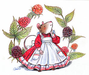 Little mouse with wild berries- Inktober 15