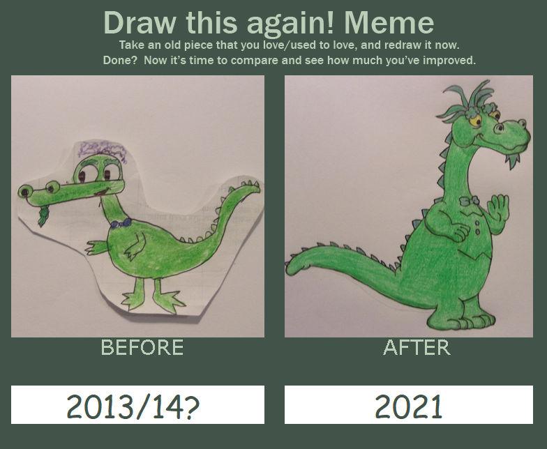 Draw This Again Meme: Puff the Magic Dragon.