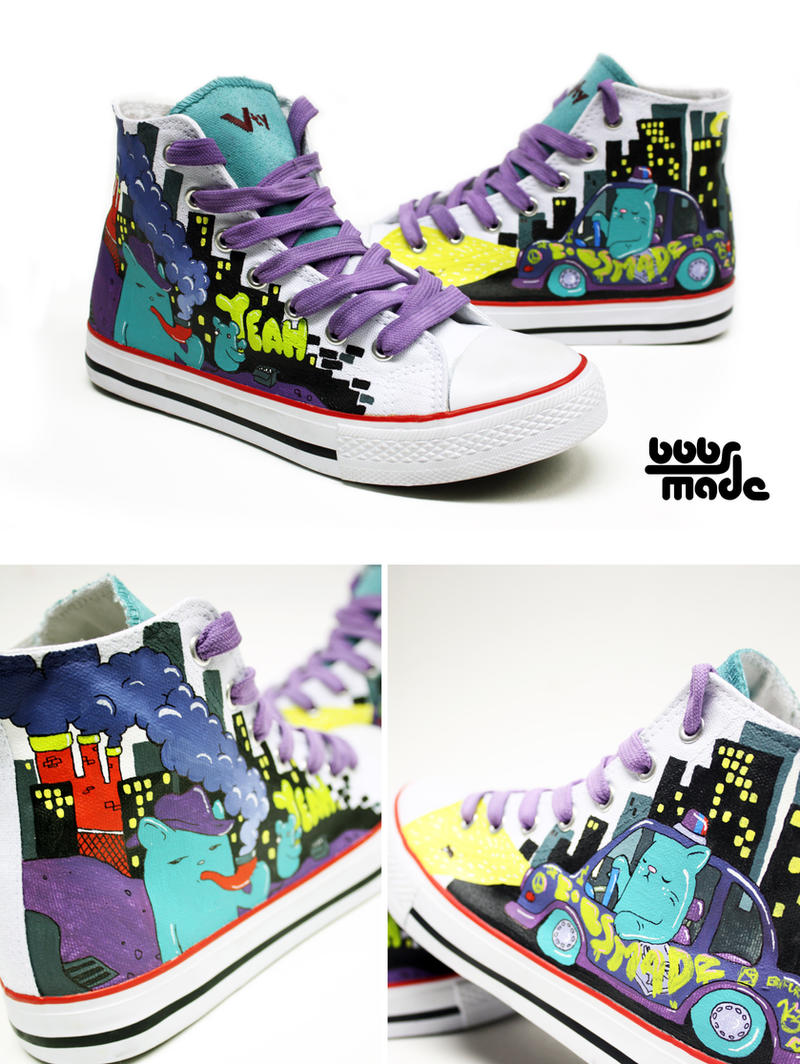 Kommissar Cat Chucks by Bobsmade