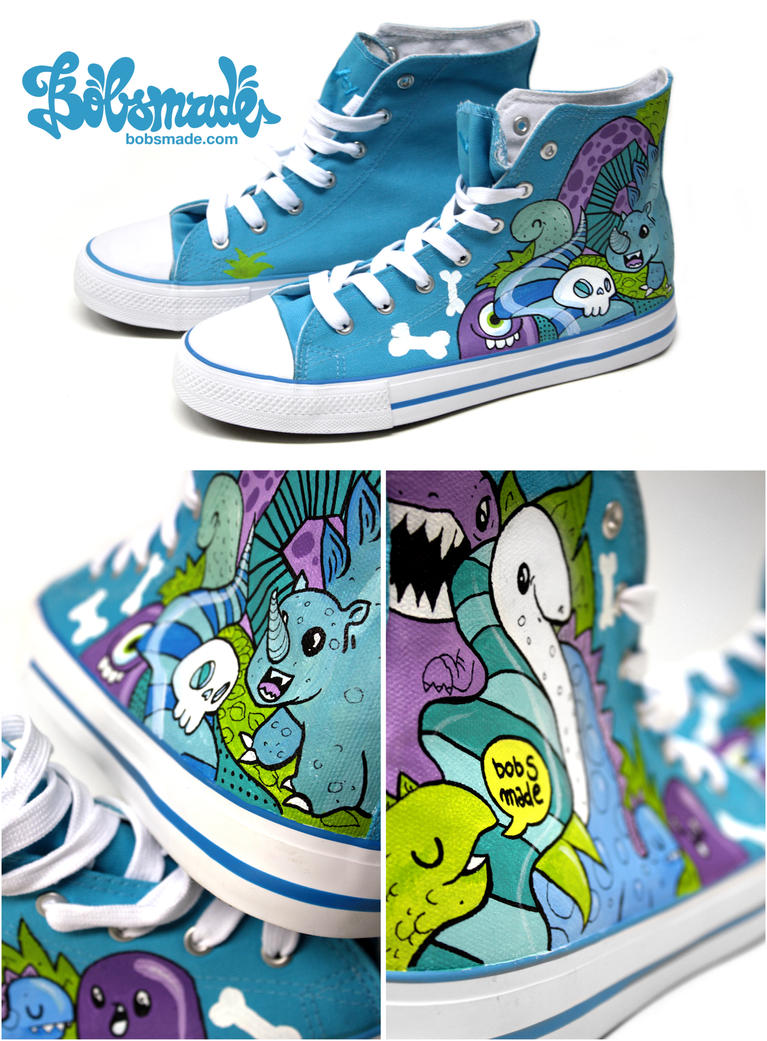 blue Dino Chucks by Bobsmade