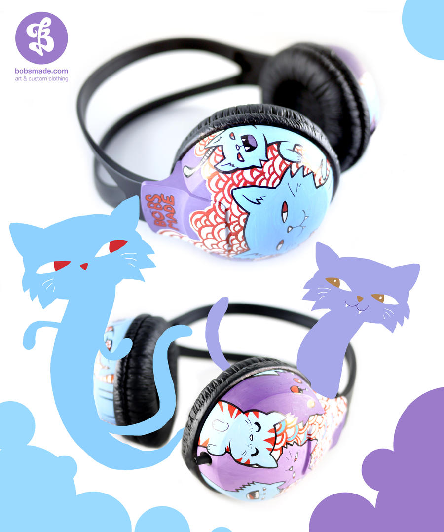 Calm Cats Headphones by Bobsmade