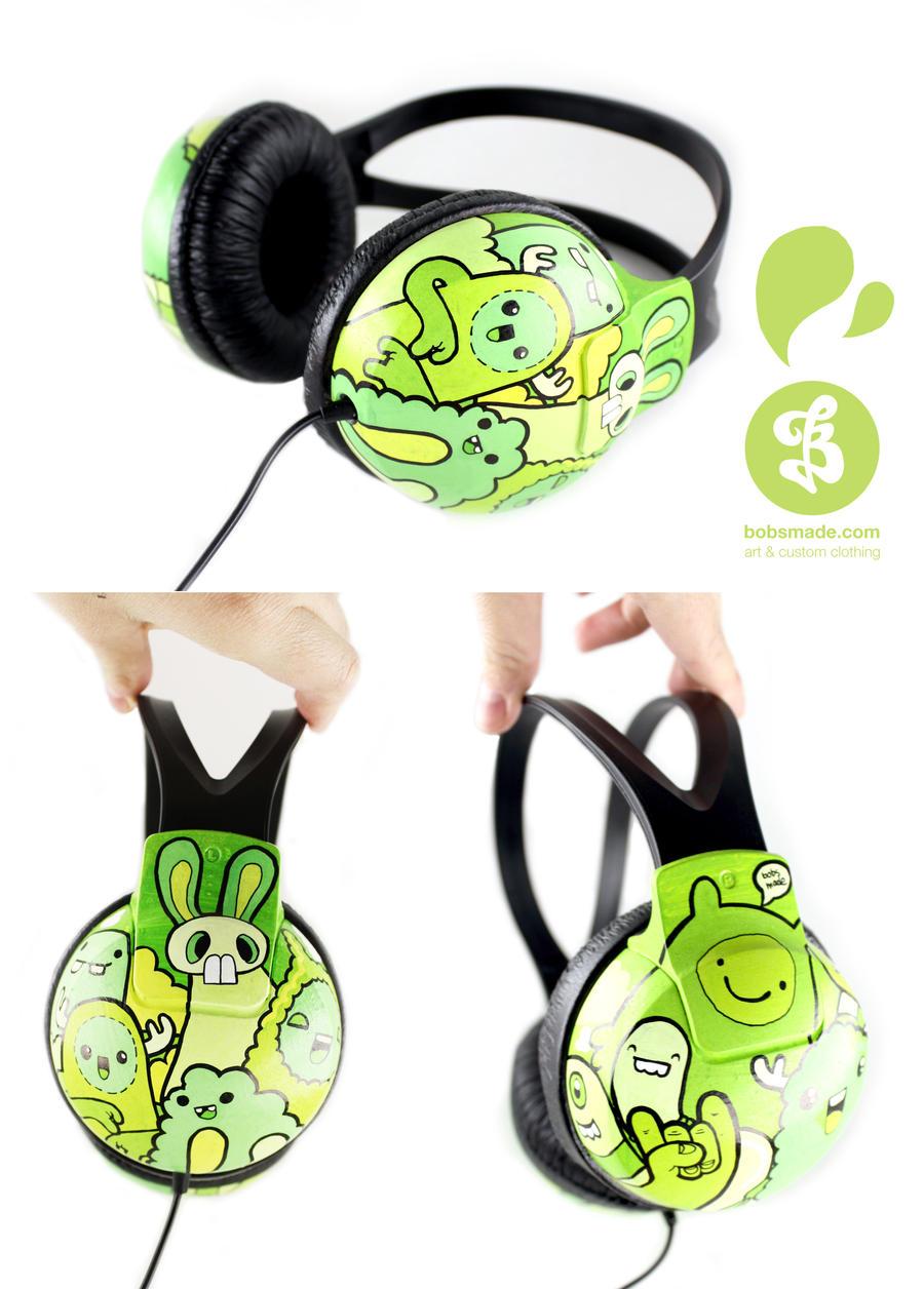 Greeny Headphones by Bobsmade