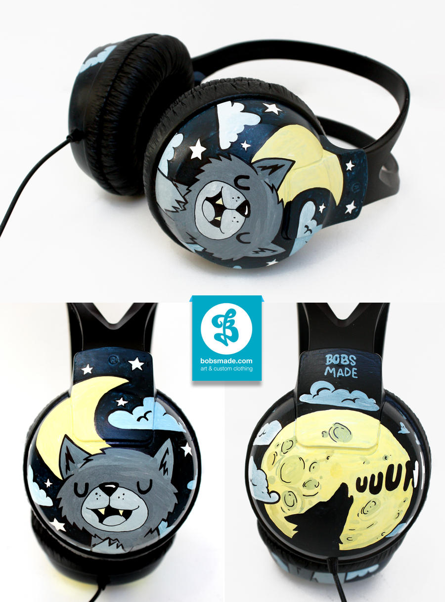 Moon and Wolf headphones by Bobsmade