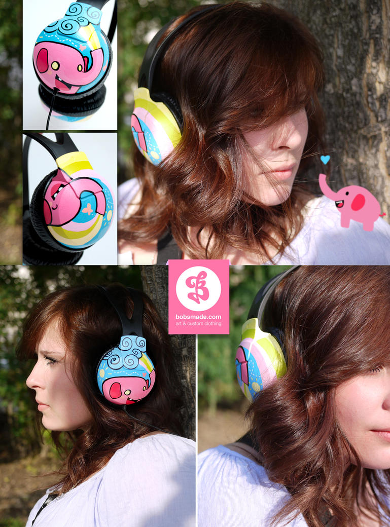 Pink Elephant headphones by Bobsmade